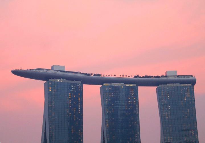 The Marina Bay Sands Hotel captured at sunset during Baybeats.