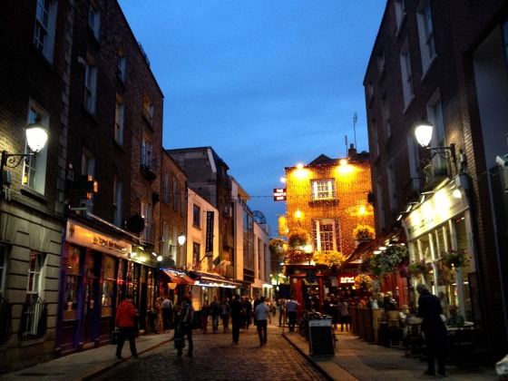 Temple Bar, a popular nightlife neighborhood in Dublin.