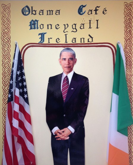 Obama's face adorned the walls of the local pub that he visited as well as the Obama Cafe.