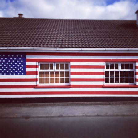 A house painted with the American flag in Moneygall.