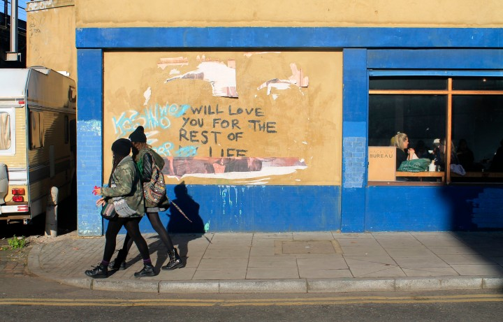 Locals head to Broadway Market on a sunny Saturday morning in East London.