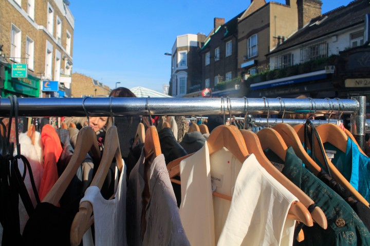 A clothing stall at Broadway Market.