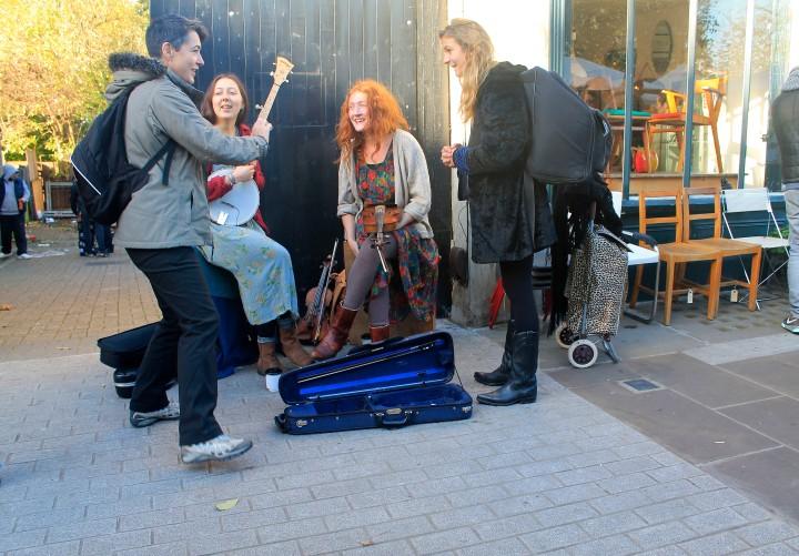 A young band at Broadway Market.