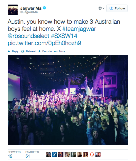 From the band's Twitter following their SXSW show