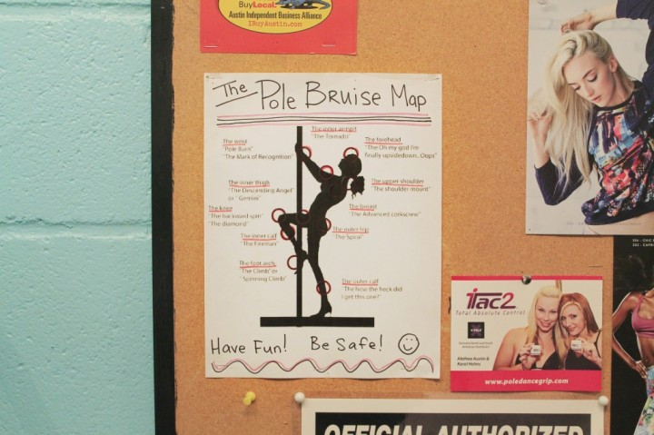 "A ""Pole Bruise Map"" is posted on the bulletin board at Brass Ovaries showing body parts that are prone to bruising, which are widely referred to as ""pole kisses"" by the pole community. Brass Ovaries instructor Sophie says that the pole kisses never fully go away, but that the longer a dancer practices, the more accustomed they get to the abuse. (Photo by Alex Vickery)"