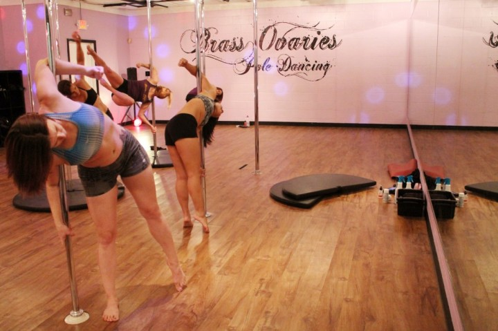Brass Ovaries has two pole dancing studios where instructors teach daily classes. In the main studio, students can practice their moves and get one-on-one feedback from the instructor (Photo by Larisa Manescu)
