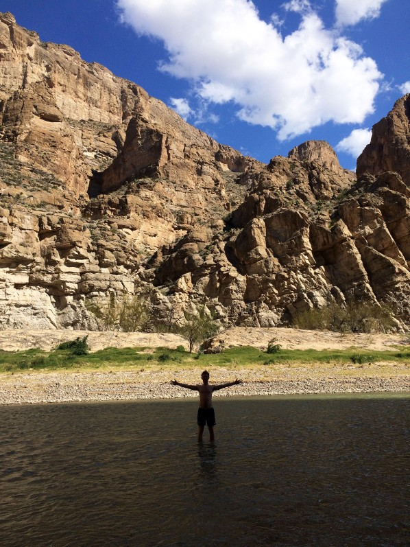 Standing in the middle of the Rio Grande River, in a canyon between Mexico and Texas. This place is absolutely beautiful.
