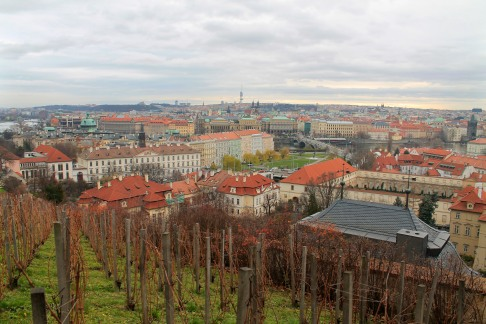 A winter view of Old Town walking up the hill towards Prague Castle.