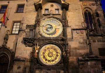 The medieval astronomical clock is in Old Town Square.