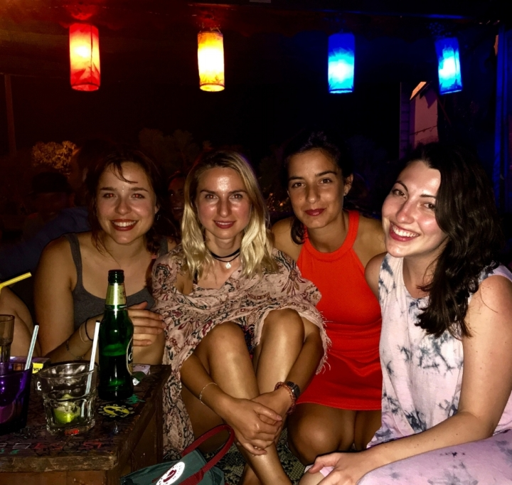 At a rooftop bar in Chiang Mai with girls from Germany, Georgia (the country), and Italy.