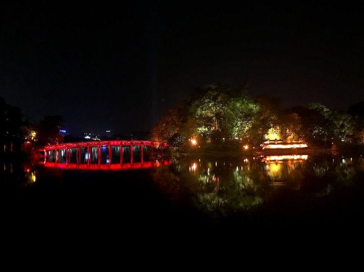 The Huc Bridge on Hanoi's central lake at night