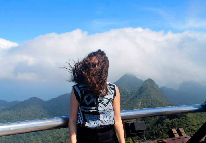 Trying to get a good picture in Langkawi, Malaysia. It was a tad windy.