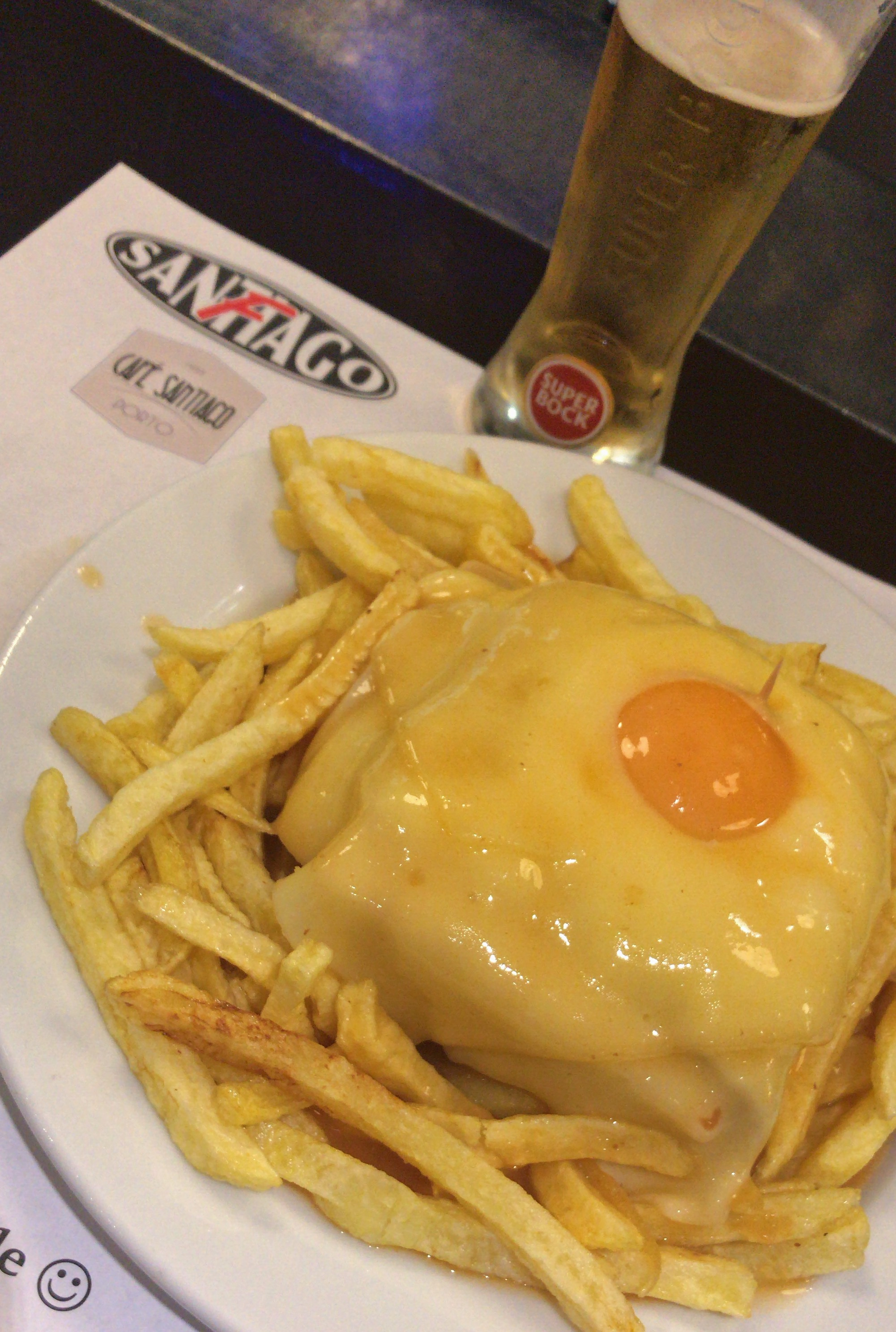 A francesinha with egg from the popular Cafe Santiago.