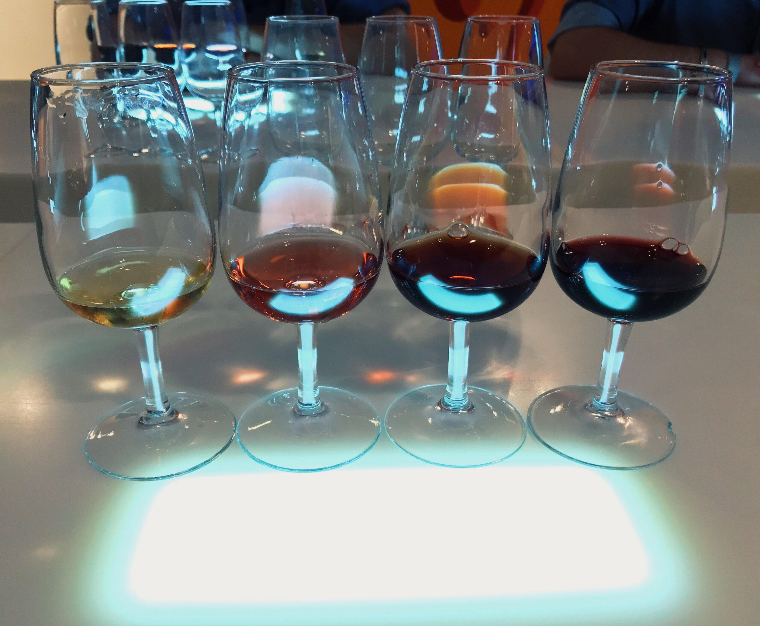 Port tasting at Espaço Porto Cruz, a space for one of the most popular brands of port. From left to right: white, rose, tawny, ruby.